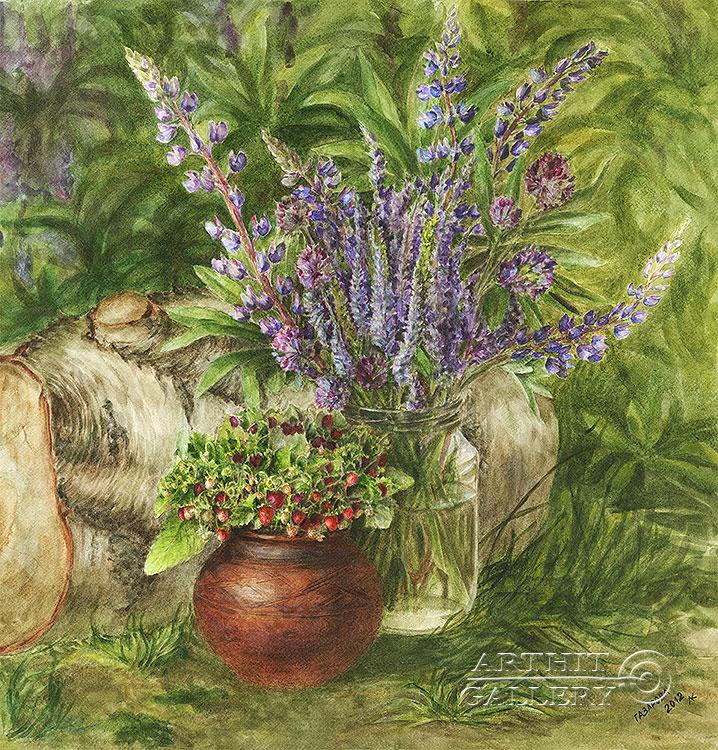 ''Лесные люпины''.  Газарова Лариса. Продажа картин, предметов декоративно-прикладного искусства