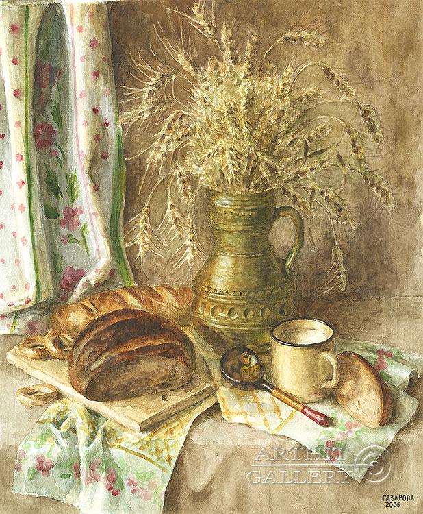 ''Хлебушек''.  Газарова Лариса. Продажа картин, предметов декоративно-прикладного искусства
