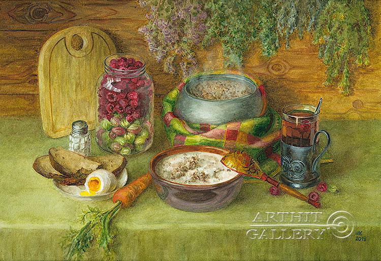 ''Завтрак из детства''.  Газарова Лариса. Продажа картин, предметов декоративно-прикладного искусства