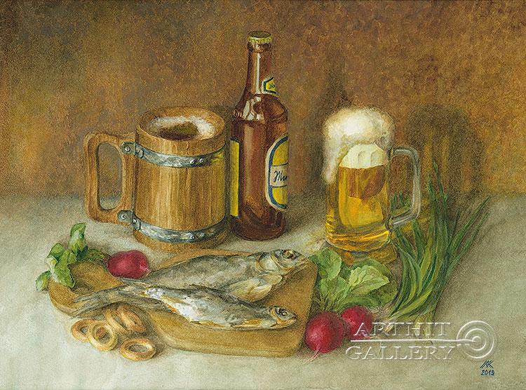 ''Натюрморт с воблой''.  Газарова Лариса. Продажа картин, предметов декоративно-прикладного искусства