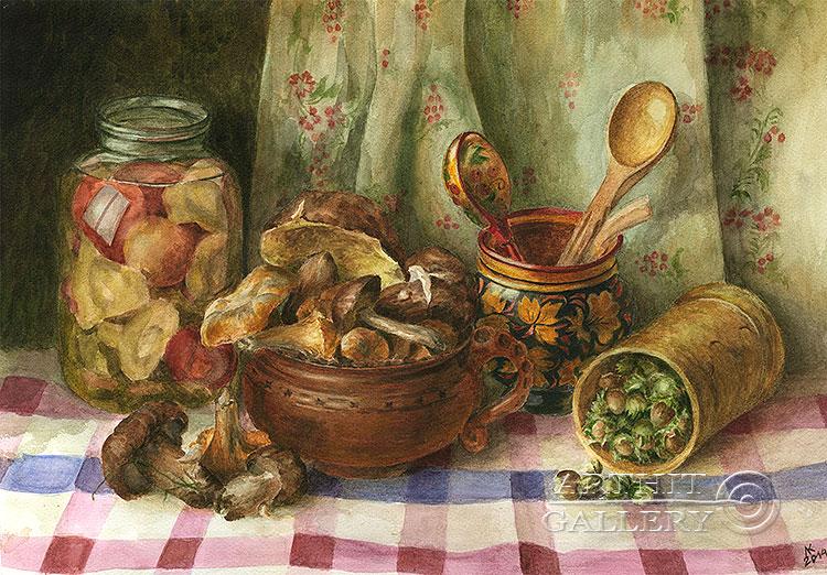 ''Грибы и орехи''.  Газарова Лариса. Продажа картин, предметов декоративно-прикладного искусства