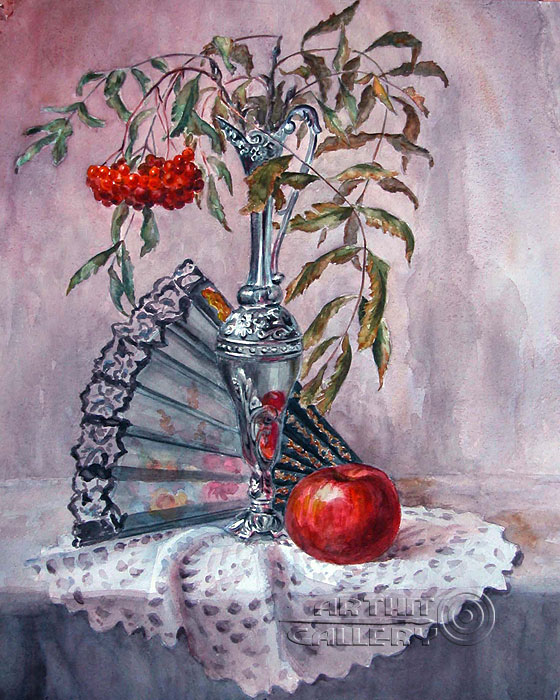 ''Натюрморт с рябиной''.  Газарова Лариса. Продажа картин, предметов декоративно-прикладного искусства