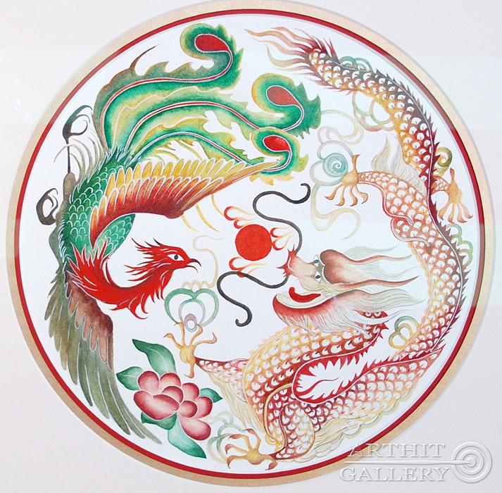 ''Дракон и Феникс: символ счастливого брака''.  Ярмиш Мария. Продажа картин, предметов декоративно-прикладного искусства