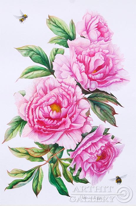 ''Розовые пионы''.  Ярмиш Мария. Продажа картин, предметов декоративно-прикладного искусства