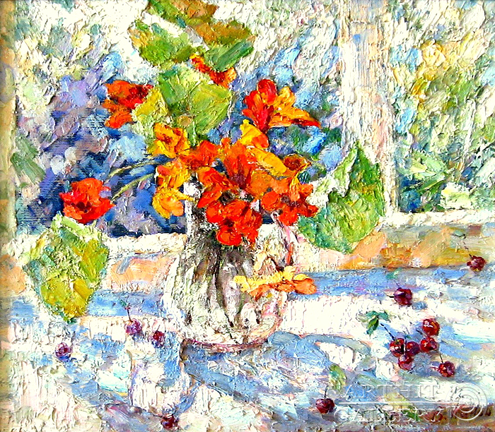 'Still life `Nasturtium flowers`'. Kanov Varus
