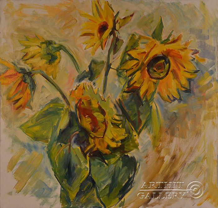 ''Подсолнухи''.  Оганесян Асмик. Продажа картин, предметов декоративно-прикладного искусства