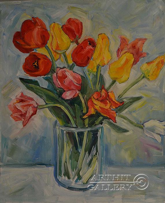 ''Тюльпаны''.  Оганесян Асмик. Продажа картин, предметов декоративно-прикладного искусства
