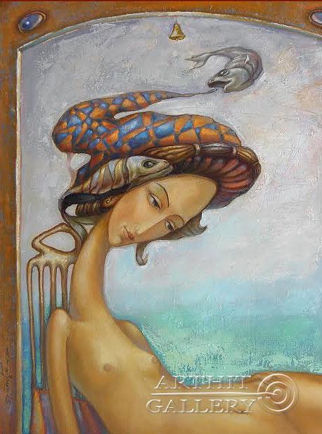 ''Дева и рыбы''.  Ковриго Сергей. Продажа картин, предметов декоративно-прикладного искусства