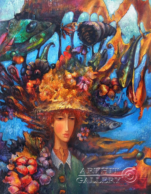 ''Алиса в подводном царстве''.  Ковриго Сергей. Продажа картин, предметов декоративно-прикладного искусства