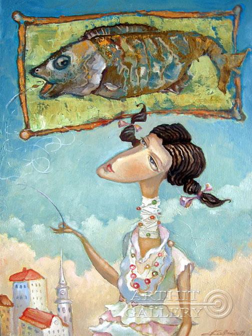 ''Дева и рыба''.  Ковриго Сергей. Продажа картин, предметов декоративно-прикладного искусства