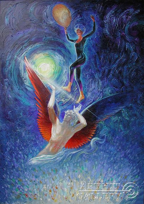 ''Ангел хранитель''.  Риис Виктор. Продажа картин, предметов декоративно-прикладного искусства