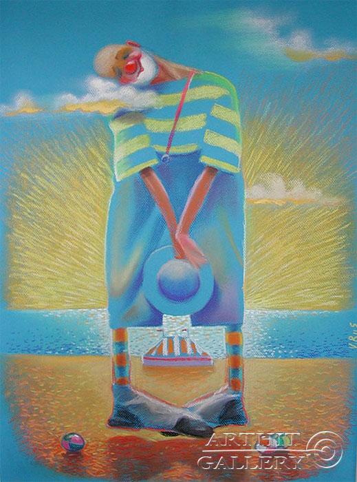 ''Сон клоуна''.  Риис Виктор. Продажа картин, предметов декоративно-прикладного искусства