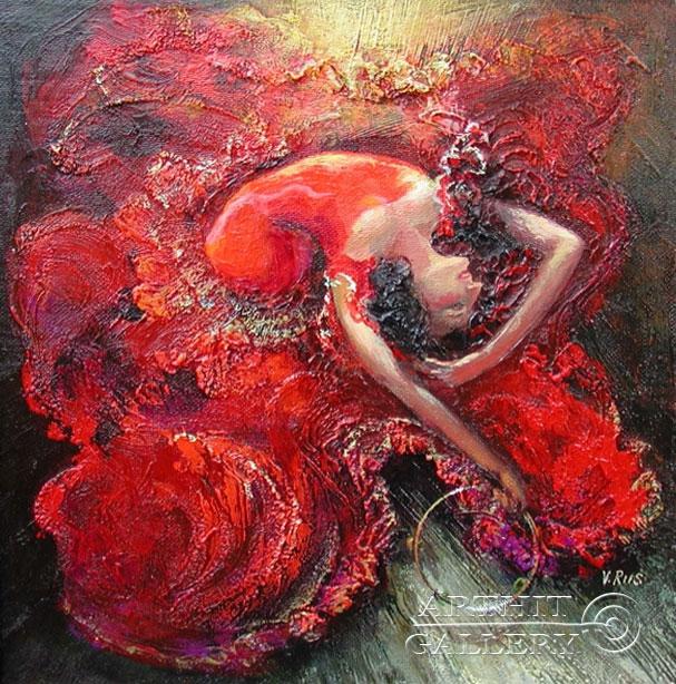 ''Танец с тамбурином''.  Риис Виктор. Продажа картин, предметов декоративно-прикладного искусства