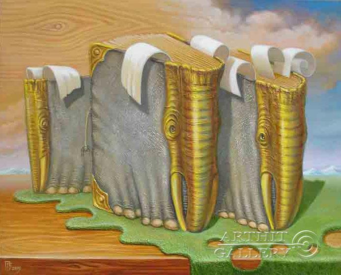 ''Книжные слоны''.  Приведенцев Геннадий. Продажа картин, предметов декоративно-прикладного искусства