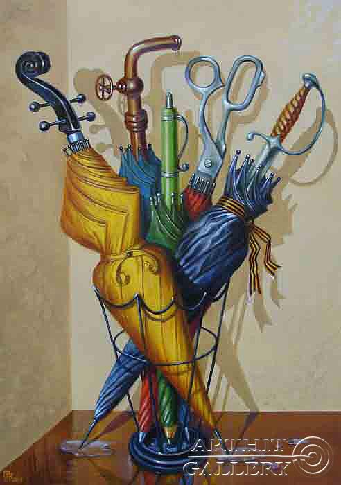 ''Семья зонтов''.  Приведенцев Геннадий. Продажа картин, предметов декоративно-прикладного искусства