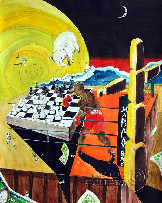 ''Рой Джонс младший переворачивает мир''.  Белов Антон. Продажа картин, предметов декоративно-прикладного искусства