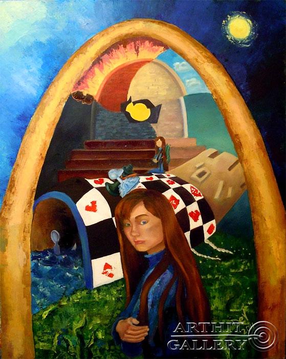 ''Автопортрет с травяным ангелом''.  Дегтярева (Тарасова) Евгения. Продажа картин, предметов декоративно-прикладного искусства