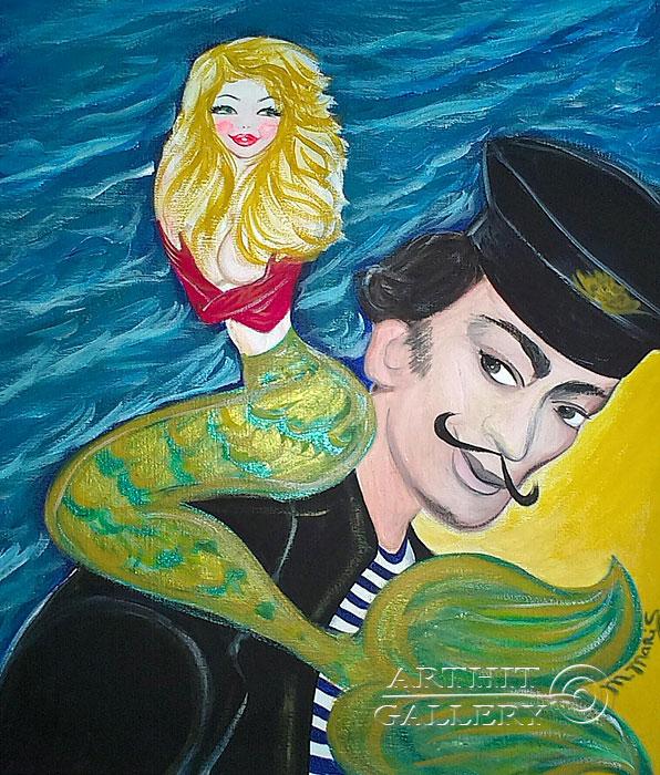 ''Русалка и Дали''.  Мариз Марина. Продажа картин, предметов декоративно-прикладного искусства