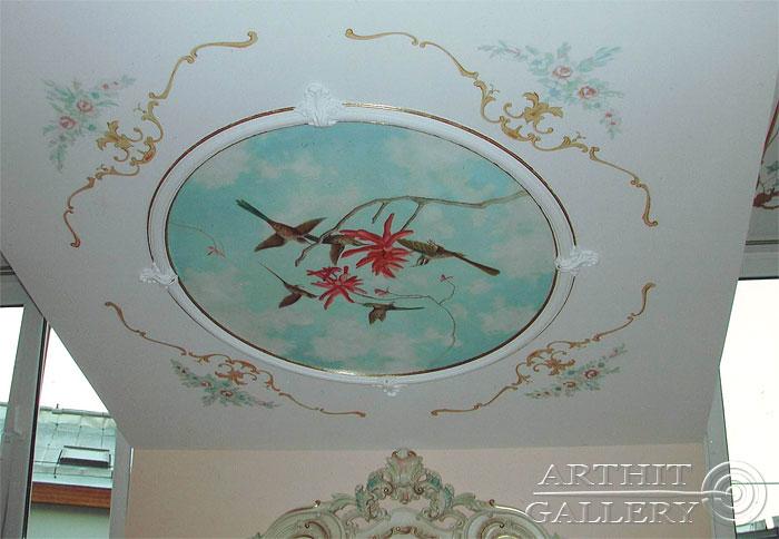 ''Интерьеры дома: Рондо с небом и птицами #1''.  Сапрыкина Ксения. Живопись, художественная роспись стен.