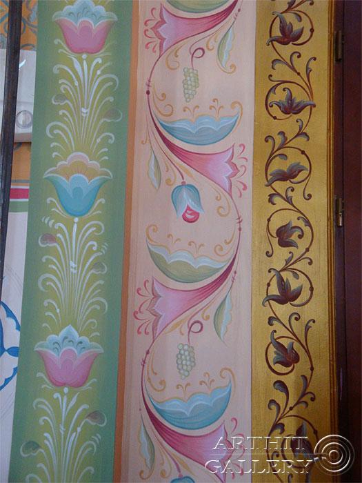 ''Орнамент в русском стиле. Акрил /#23/''.  Сапрыкина Ксения. Живопись, художественная роспись стен.