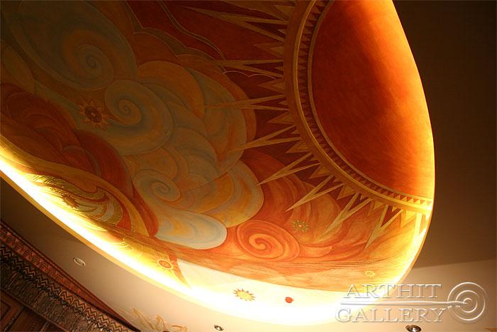 ''Интерьеры дома: Роспись потолка #8''.  Сапрыкина Ксения. Живопись, художественная роспись стен.